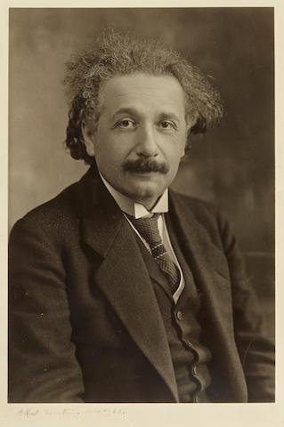 """EINSTEIN, ALBERT. 1879-1955. Photograph Signed (""""Albert Einstein""""),"""