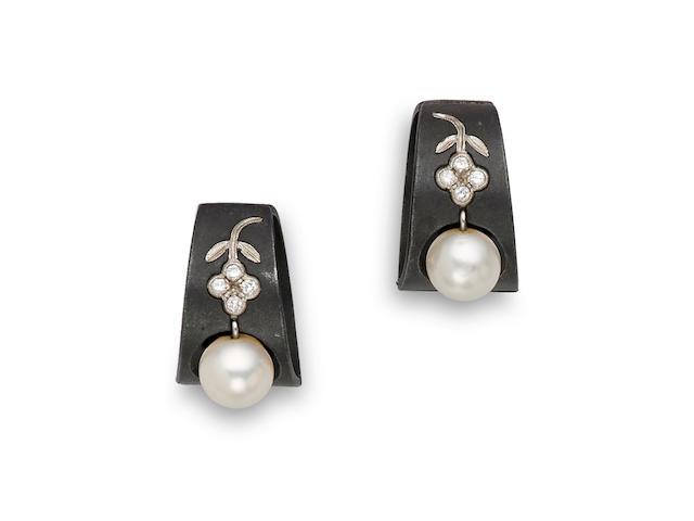 A pair of cultured pearl, diamond and patinated steel earrings, Marsh & Co.