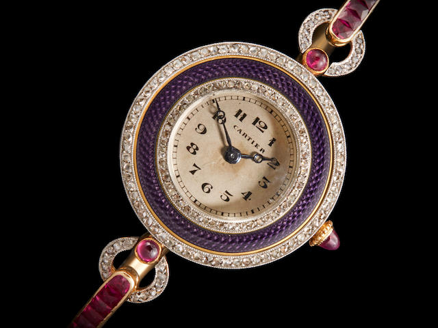 Cartier. A remarkable Belle Epoque enameled gold, diamond and ruby bracelet watchNumbered 7910 / 2580 / 3175, circa 1910