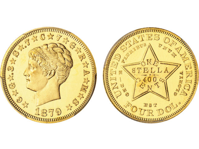 1879 $4 Coiled Hair Stella, Gilt Copper Pattern, Judd-1639a, Pollock-1839, Low R.7, Proof 64 PCGS CAC Sticker.