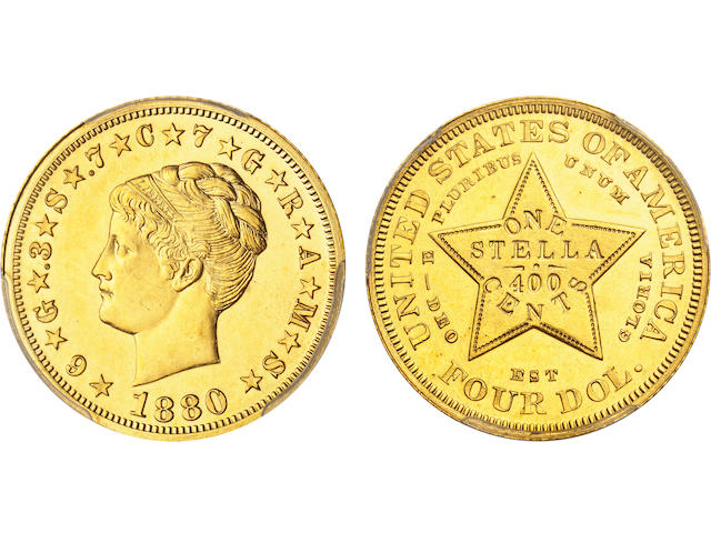 1880 $4 Coiled Hair Stella, Gilt Copper Pattern, Judd-1661a, Pollock-1861, R.6, Proof 62 PCGS CAC Sticker.