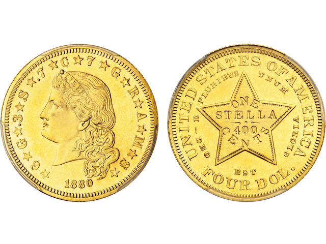 1880 $4 Flowing Hair Stella, Gilt Copper Pattern, Judd-1658a, Pollock-1858, Low R.7, Proof 63 PCGS