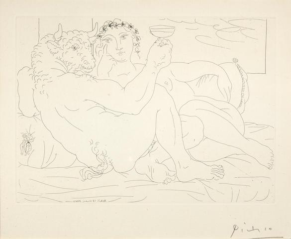 Pablo Picasso (1881-1973); Minotaure, une coupe à la main, et jeune femme, pl. 83, from La Suite Vollard;