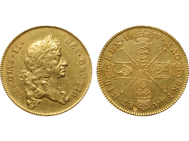 Great Britain, Charles II, 5 Pounds, 1677