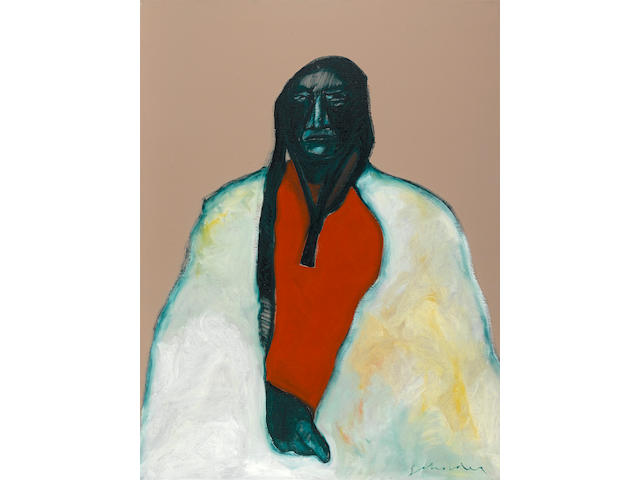 "A Fritz Scholder painting, ""Dartmouth Portrait #2"", 1973"