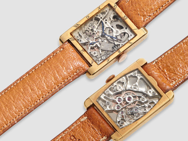 Audemars Piguet. A fine and rare rose gold skeletonized wristwatchNo. 43644, sold 1943