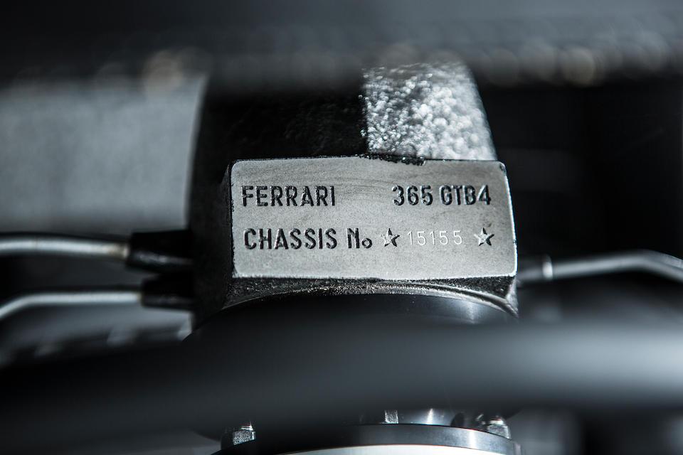 Ferrari Classiche Certified,1972 FERRARI 365 GTB/4 DAYTONA BERLINETTA  Chassis no. 15155 Engine no. 251