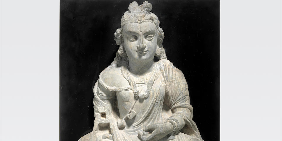 A schist figure of a bodhisattva  Ancient region of Gandhara, 3rd/4th century