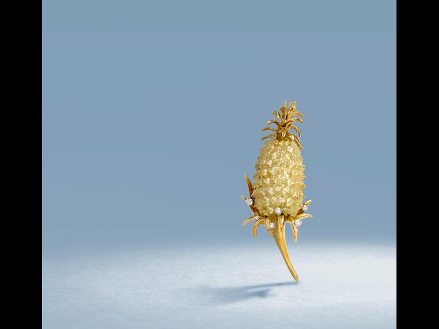 A diamond and gold pineapple brooch, Angela Cummings for Tiffany & Co., French