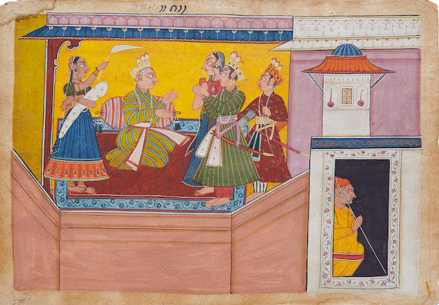 AN ILLUSTRATION TO THE SHANGRI RAMAYANA, STYLE II: KING DASHARATHA INSTRUCTS BHARATA AND SHATRUGHNA BAHU (JAMMU), CIRCA 1690