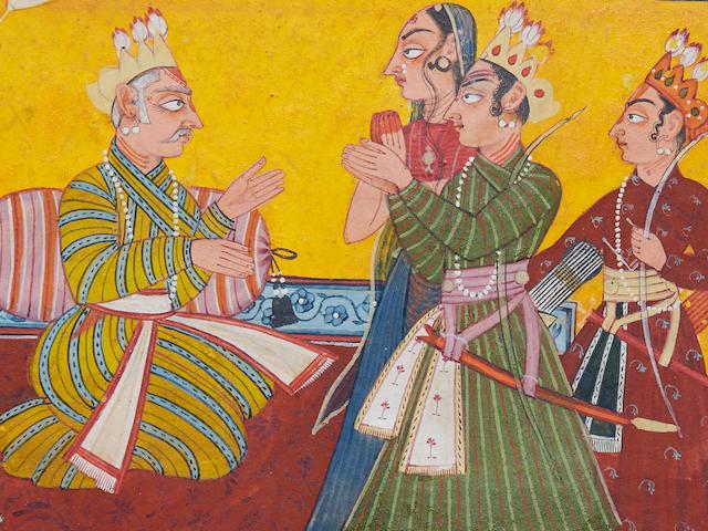 AN ILLUSTRATION TO THE SHANGRI RAMAYANA, STYLE II: KING DASHARATHA INSTRUCTS BHARATA AND SHATRUGHNA BAHU (JAMMU), CIRCA 1690