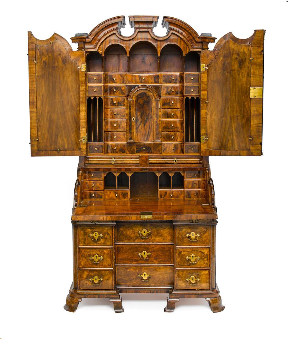 A magnificent German Baroque gilt bronze mounted figured walnut secretary cabinet first half 18th century