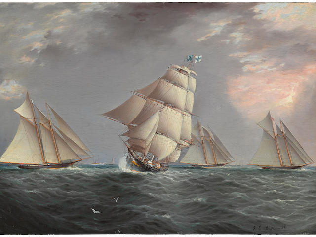 James Edward Buttersworth (British/American, 1817-1894) A merchant ship crossing a schooner race 12 x 18 in. (  cm.)