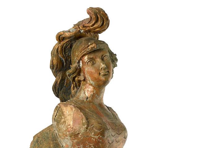 A fine carved ship's figurehead of Athena early 19th century 30 x 12-1/2 in. (  cm.), height x width.