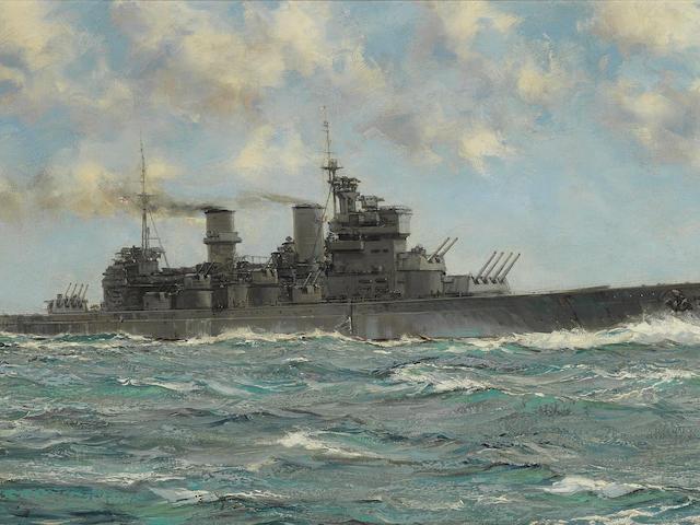 Montague Dawson (British, 1890-1973) H.M.S. Howe steaming at speed in open water