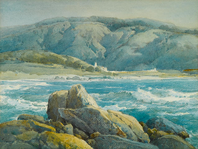 Percy Gray (1869-1952) Santa Lucia Hills from Carmel Bay 11 x 15 1/4in overall: 17 3/4 x 20 5/8in