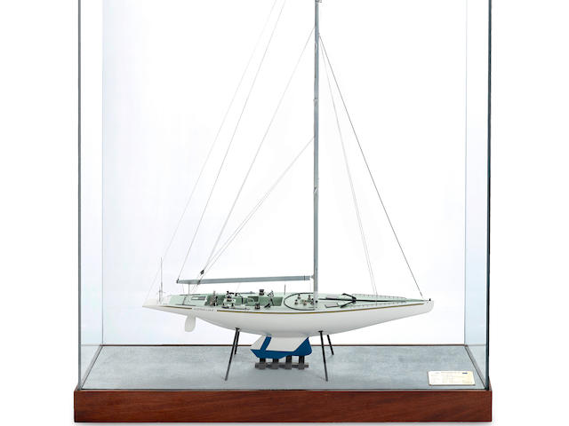 An exhibition standard model of the 12-meter yacht Australia II circa 1984 33-1/3 x 11 x 41-3/4 in. (84.5 x 27.9 x 106 cm.), cased.