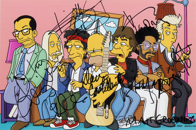 A The Simpsons print signed by Mick Jagger, Keith Richards, Lenny Kravitz, and others
