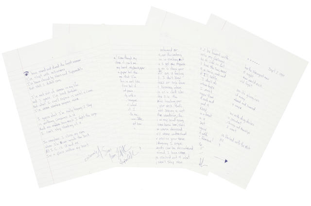 A Tupac Shakur handwritten letter
