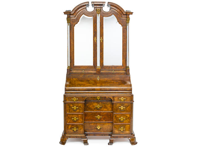 A magnificent German Baroque gilt bronze mounted figured walnut secretary cabinet first half 18th century