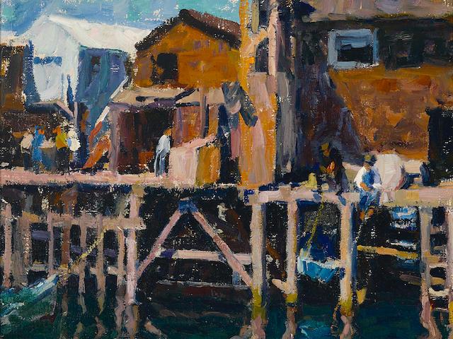 E. Charlton Fortune (1885-1969) Wharf, Monterey, circa 1915 24 x 22 1/4in (overall: 30 7/8 x 28 7/8in)