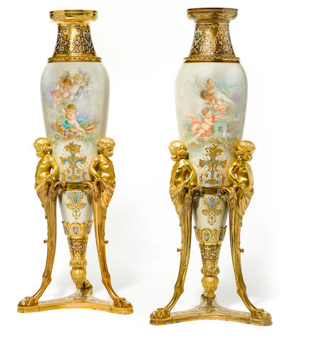 An impressive pair of French gilt bronze champlevé and porcelain vases late 19th/early 20th century