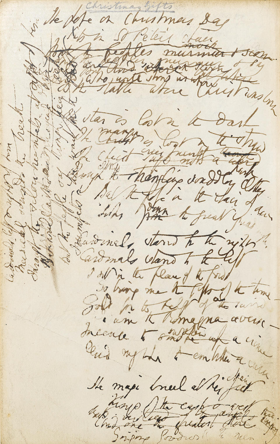 BROWNING, ELIZABETH BARRETT. 1806-1861. Autograph Manuscript, being a working draft of Poems Before Congress,