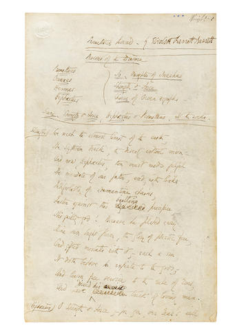 BROWNING, ELIZABETH BARRETT. 1806-1861. Autograph Manuscript, being a draft of her revised translation of the Aeschelus play Prometheus Bound, for publication in her 1850 work Poems,