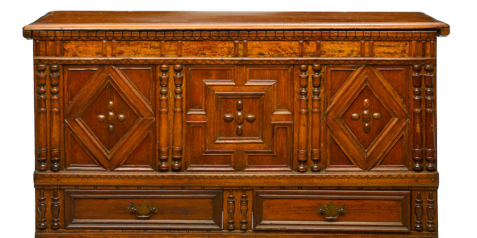 A Pilgrim century pine and oak paneled front chest late 17th century