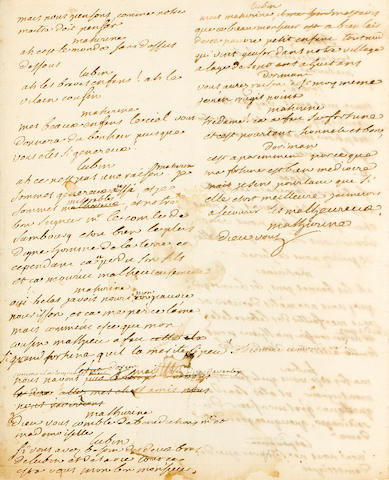 VOLTAIRE, FRANCOIS-MARIE AROUET. 1694-1778. Autograph Manuscript, being a portion of the original manuscript of Therese,