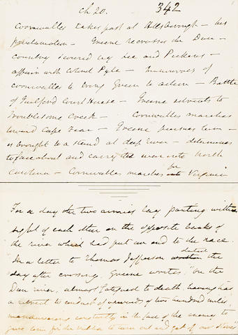 IRVING, WASHINGTON. 1783-1859. Autograph Manuscript, being Chapter 20 from Volume IV of The Life of George Washington,