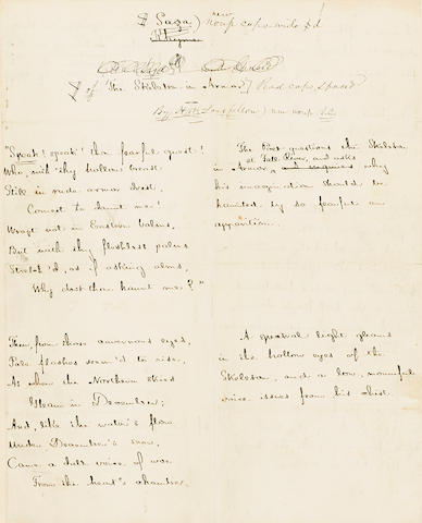 "LONGFELLOW, HENRY WADSWORTH. 1807-1882. Autograph Manuscript, being the complete poem ""Saga of The Skeleton in Armor,"""