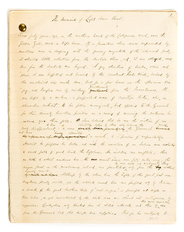 "HARTE, BRET. 1836-1902. Autograph Manuscript Signed (""Bret Harte""), being his short story ""The Mermaid of Lighthouse Point"","