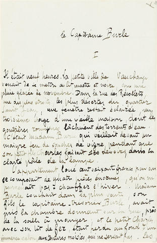 "ZOLA, EMILE. 1840-1902. Autograph Manuscript Signed (""Emile Zola""), being the manuscript of the short story ""Le Capitaine Burle,"""