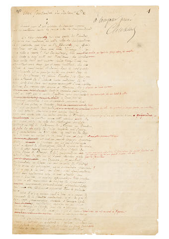 "VERNE, JULES. 1828-1905. Autograph Manuscript Signed (""Jules Verne""), being the complete short story ""Une fantaisie de docteur Ox,"""