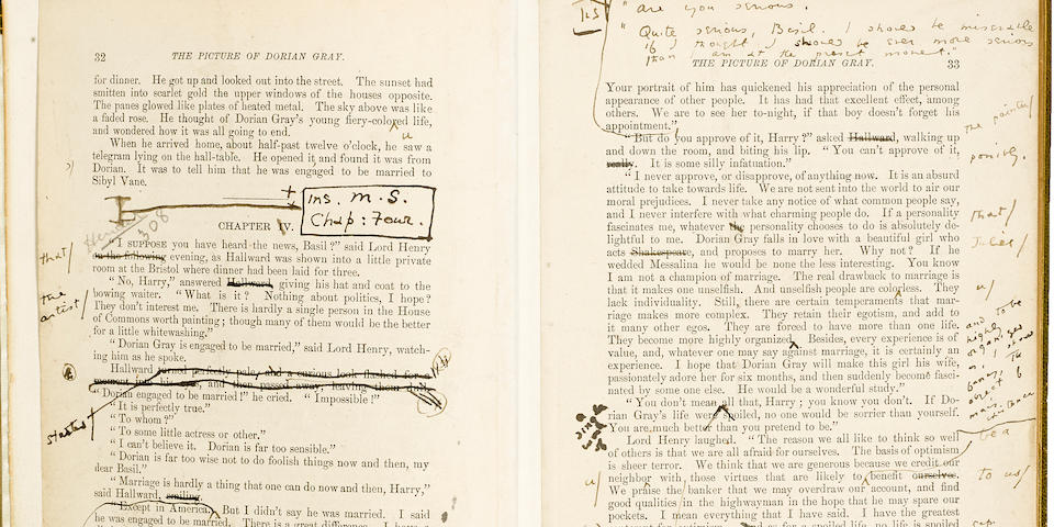 WILDE, OSCAR. 1854-1900. Two leaves, pp 31-34, from the first appearance of The Picture of Dorian Gray in Lippincott's Monthly Magazine for July, 1890, with Wilde's autograph revisions toward the book-version published in April 1891,