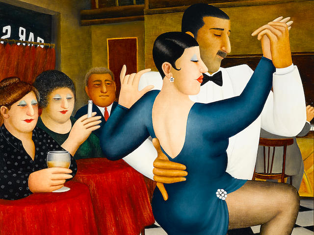 Beryl Cook (British, 1926-2008) Tango in Bar Sur 48 x 30in (122 x 76cm)
