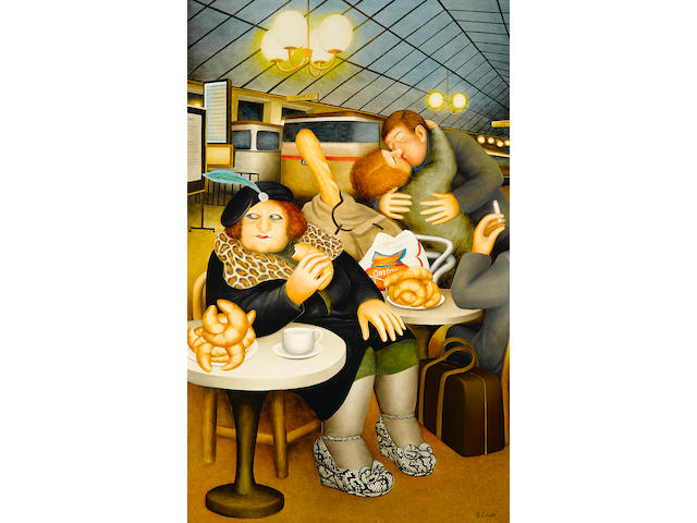 Beryl Cook Train station cafe 48 x 30in