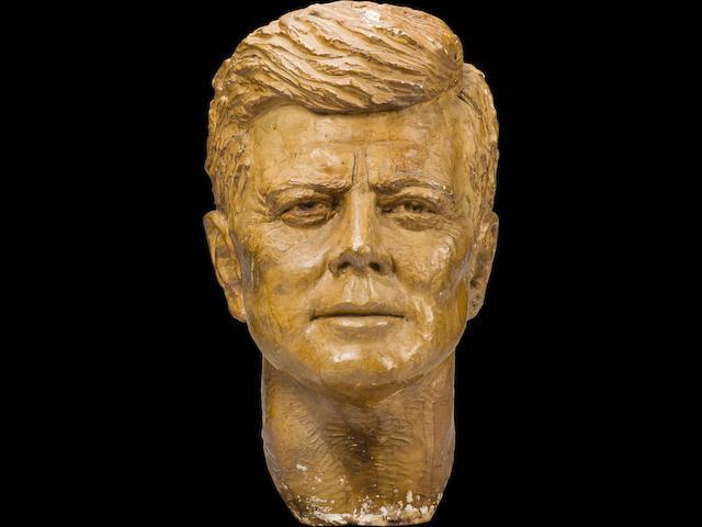 [KENNEDY, JOHN FITZGERALD.] DE WELDON, FELIX. 1907-2003. Original plaster maquette of the last sculpture bust of John Fitzgerald Kennedy, modeled mid to late 1963, completed early 1964.