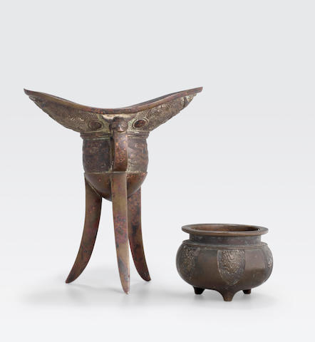 Two bronze archaistic containers 17th century or later