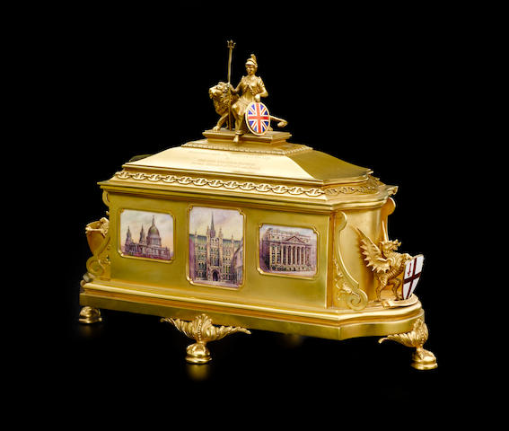 An Important George V  18K yellow gold  London Freedom Casket by Mappin & Webb, Sheffield,  1926