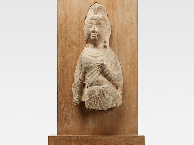 A LIMESTONE RELIEF CARVING OF A BODHISATTVA  Tang dynasty