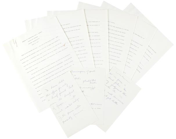 Jewish war veterans speech, June 15, 1947, and another typed speech sheet KENNEDY, JOHN FITZGERALD.