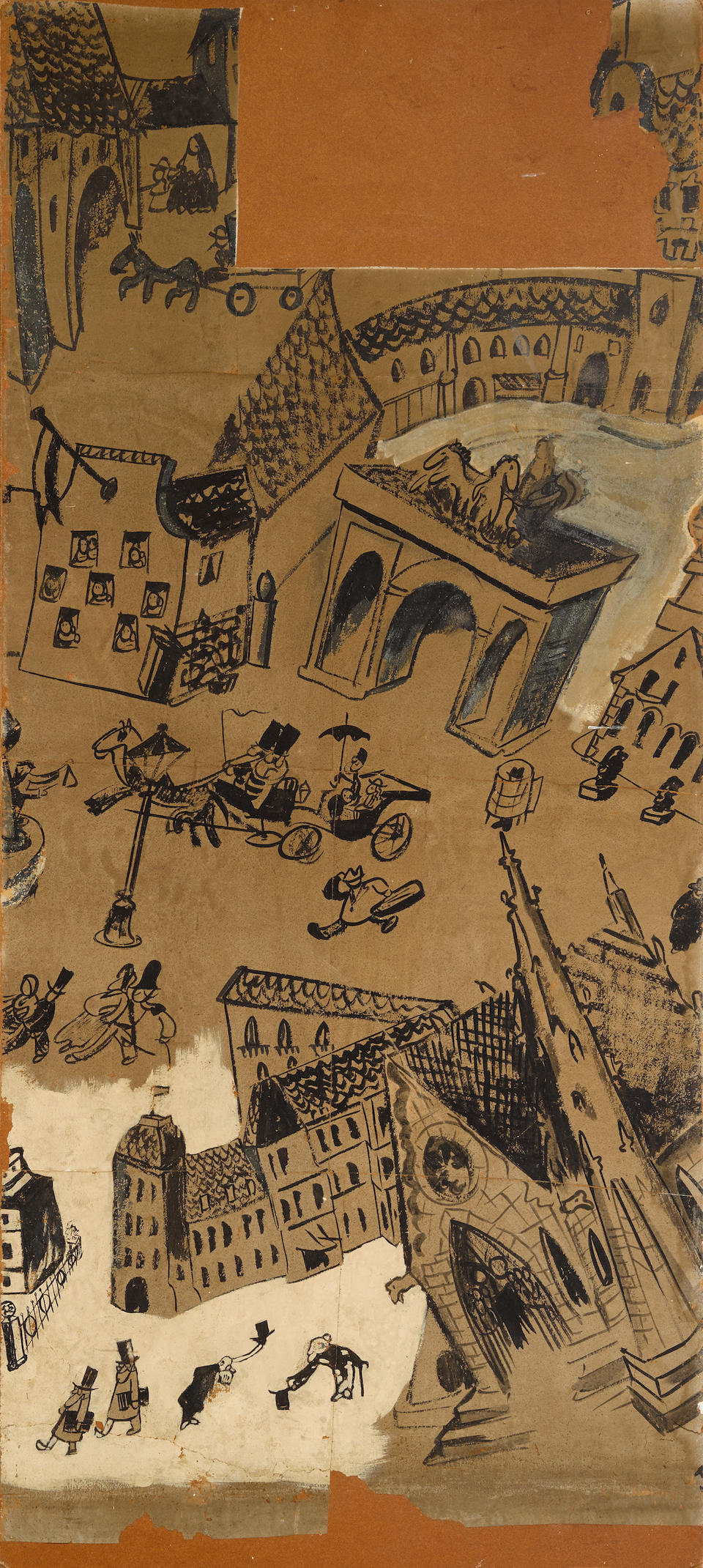 BEMELMANS, LUDWIG. 1898-1962. Black and white gouache on paper affixed to masonite, being murals for Hapsburg House,
