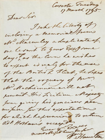 "HAMILTON, WILLIAM. 1730-1803. 1. Autograph Letter Signed (""Wm Hamilton""), 2 pp recto and verso, 8vo, bifolium, Naples, December 2nd, 1793, addressing ""your excellency"" on behalf of two appellants seeking to bring ""French domesticks"" into ""this Kingdom."""