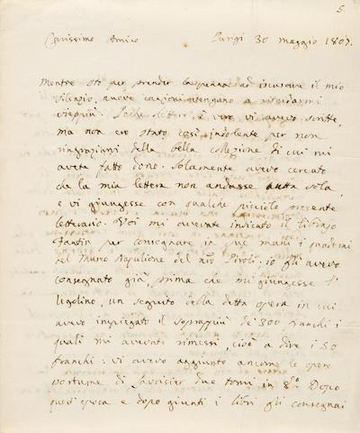 """VISCONTI, ENNIO QUIRINO. 1751 - 1818. Autograph Letter Signed (""""E.Q. Visconti""""), 5 pp, on two bifolium, Paris, 30 Maggio 1807, to Daniele Francesconi, discussing all manner of antiquarian interests;"""