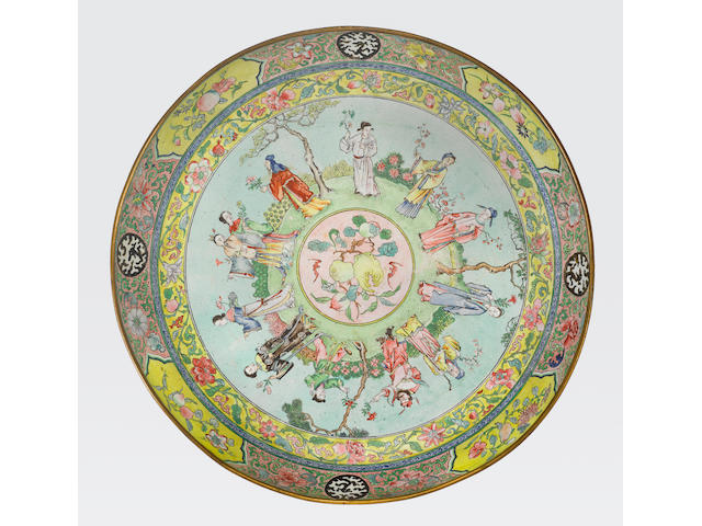 A polychrome enamel deep dish  Guangdong workshop, 18th/19th century