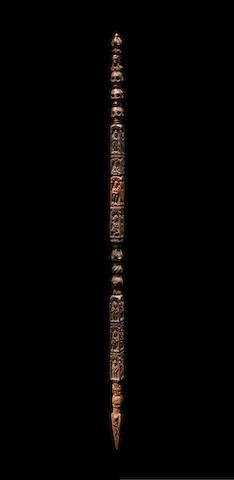 A WOOD RITUAL STAFF NEPAL, 10TH-13TH CENTURY