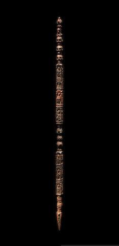 A WOOD RITUAL STAFF NEPAL, 10TH-13TH CENTURY