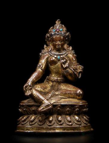 A SILVER INLAID GILT COPPER FIGURE OF SYAMATARA NEPAL, 13TH/14TH CENTURY